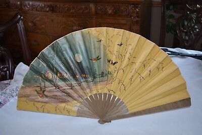 Vintage Oriental Bamboo and Paper Folding Hand Fan Moonlight and Birds Scene