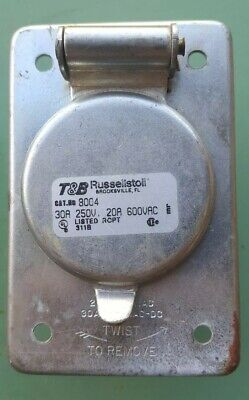 T&B Thomas & Betts Russellstoll 8004 Amp Receptacle Used