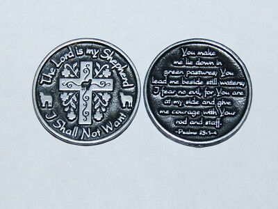 "THE LORD IS MY SHEPHERD Cross Token Christian Religious 1-1/8"" Coin Psalm 23"