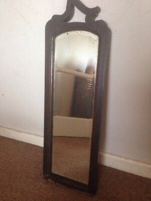 Vintage Antique Wooden Bevelled Wall Mirror Up cycle Project Old