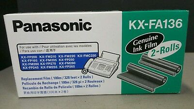 Vtg Genuine PANASONIC KX-FA136 Fax Toner / Replacement Ink Film 2 Roll Pack NEW