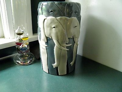 "Rare VINTAGE OTAGIRI JAPAN TOM TAYLOR WILDLIFE HERD OF ELEPHANTS 9"" CERAMIC VASE"