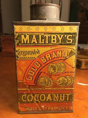 Vintage Maltby's Gold Brand Cocoanut Tin Can Litho Kitchen Ginna Co Amazing Nice