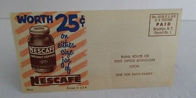 Vintage 1953 NESCAFE INSTANT COFFEE Folded Mailer Coupon