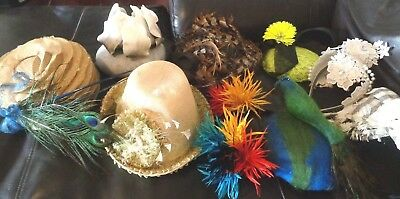 BULK LOT - Fascinators - 9 Items - New & Used - Feathers-LACE-Flowers-LEATHER