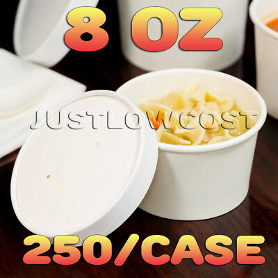 8 oz White Paper Soup Hot Food Cup Vented Paper Lid Salad Stew Ice Cream, 250 CT