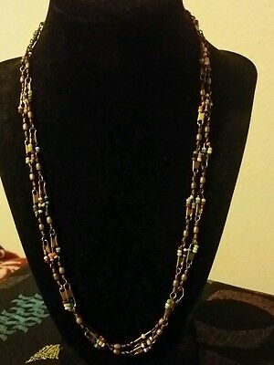 Vintage Arts and Crafts Art Deco seed beaded fisherman's  swivel necklace