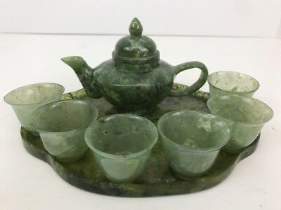 VTG Chinese 100% Natural Green Jade Hand Carved Statues Teapot Cups Set 396 Gram