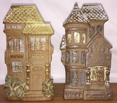 2 Victorian Row House Wall Pocket Planter Vases Stoneware Pottery Counterpoint