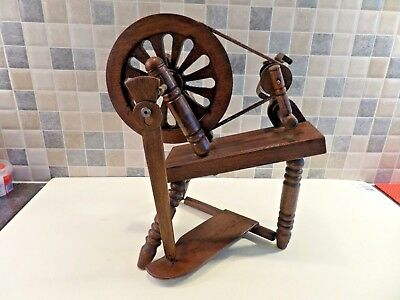 """Vintage Small Wooden Working Model Of A Spinning Wheel In Good Order 11"""" High"""