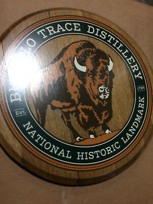 Rare Buffalo Trace Collectable All Wood Round Barrel Head Hanging Sign New