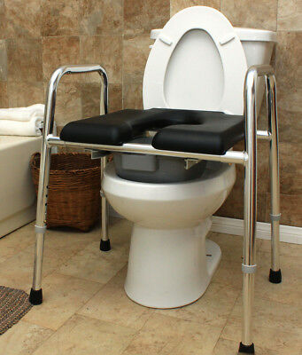 EAGLE Health Padded Shower Chair Raised Toilet Seat Safety Frame ...