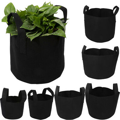 6Sizes Black Thickening Fabric Pot Plant Pouch Root Container Plant Grow Bag J2