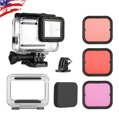 For GoPro Hero6 5 Black Underwater Waterproof Dive Housing + 3X Lens Filter Kit