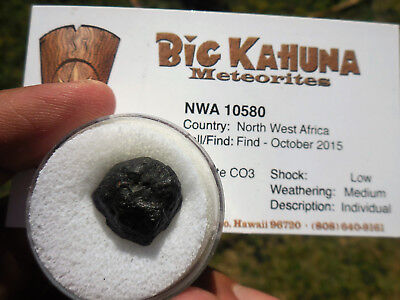2.9  gram NWA 10580 Cabonaceous meteorite (CO3) found 2015 in Northwest Africa