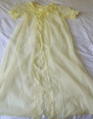Vintage 1960's Sylray Sheer Yellow Nylon Baby Doll Pin Up Negligee W