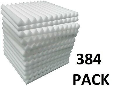 """Wedge foam acoustic - White Studios Sound Absorption Wall  1""""X 12""""X 12"""" 384 Pack"""