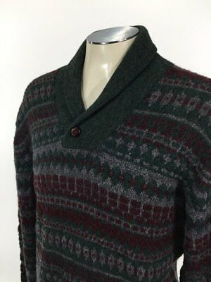 Woolrich Wool Shawl Collar Knit Button Sweater L VTG Nordic Pullover Mens 7928
