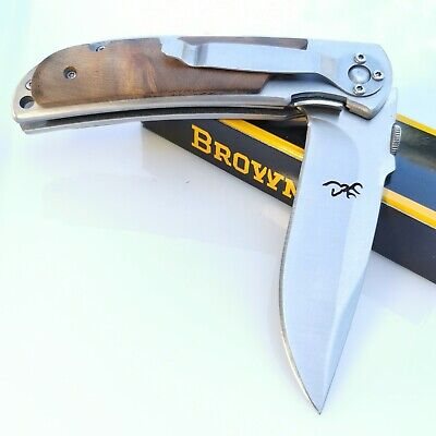 Browning 338 Small Size Folding Pocket Knife, Hunting Knife Black White