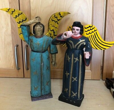 Pair large Vintage MEXICAN Folk Art Hand Carved / Painted Wood Angels