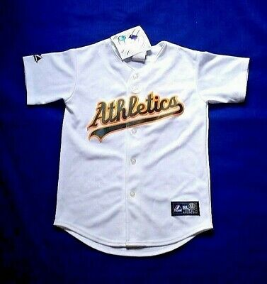 Oakland Athletics A's Bobby Crosby Replica MLB White Button-Down Jersey Youth S