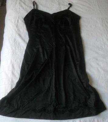 Vintage 1960S Osti Satin Star Black Nylon Full Slip Scallop & Applique Trim Xos