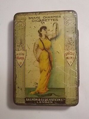 Old Rare SNAKE CHARMER Empty Cigarette Tobacco Picture Tin . G