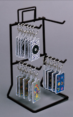 Counter Key Chain & Small Item Display Rack - 2 Tier 4 Peg (Choice of Color)
