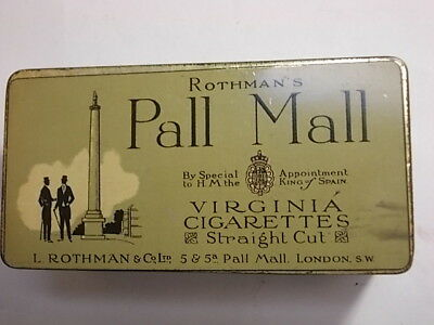 Old PALL MALL Empty Cigarette Tobacco Picture Tin . VG