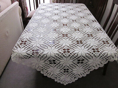 Stunning Hand Worked Cream Silk Crochet Lace Square Tablecloth
