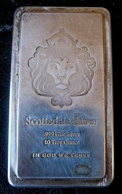 SCOTTSDALE MINT 10 Oz  .999 SILVER stacker bar IN GOD WE TRUST $0 Ship priority