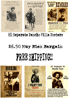 Set Of (6) Wanted Posters Vintage Pancho Villa Mexico Army Battle Bandit Outlaw