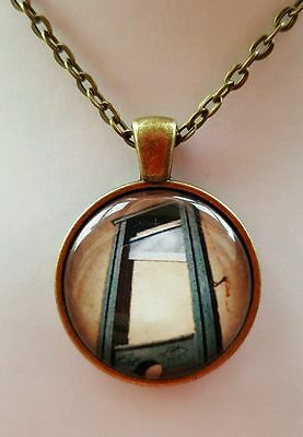 guillotine DEATH PENALTY TORTURE RARE FRENCH EVIL HORROR GOTH Glass Necklace