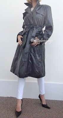 Black PVC Double Breasted Trench Coat with tie belt size 16