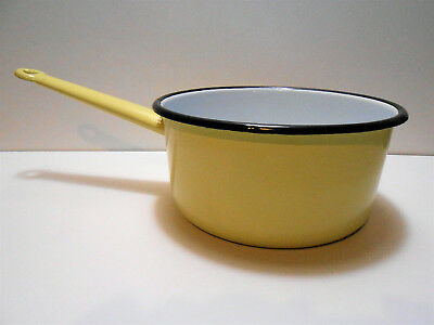 Casserole Vintage Tole Emaillee Jaune Leopolo 20 / Stock Ancien /  Enemalled Pan