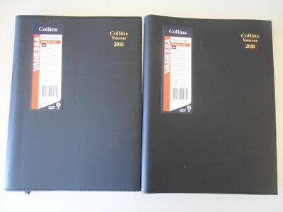 2018 Collins Vanessa A4 1 Day to A Page DTP Spiral Diary 145V99 1/2 Hourly BLACK