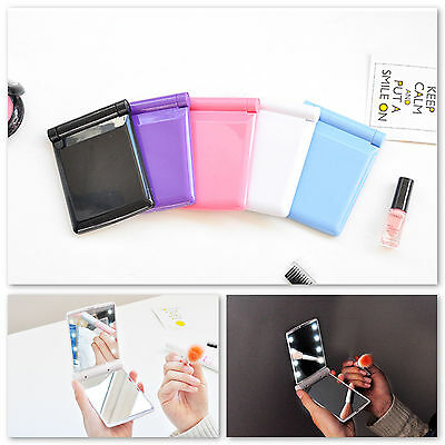 Folding Portable Touch Screen New Design 8 LEDs Lighted Makeup Mirror Cosmetic