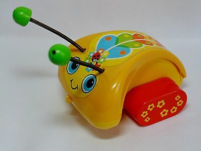 Retro FISHER PRICE LADYBUG PULL TOY Vintage Classic 1970s Flower Power Mod Look