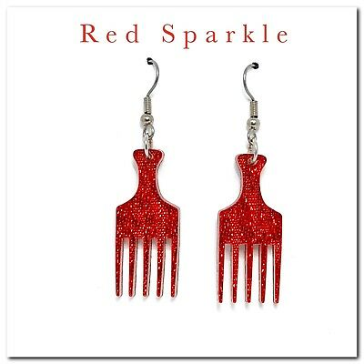 Afro Comb Earrings, Dangle,Drop,Womens Fashion,Hanging,Jewellery,Gifts,Sparkle