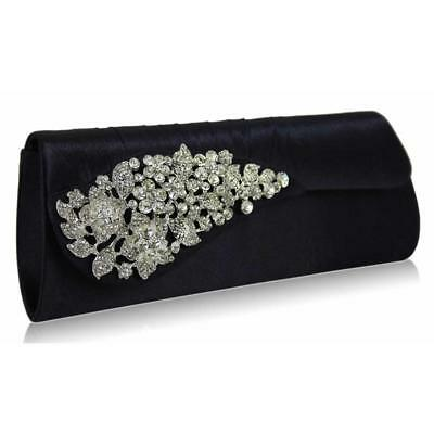 0078- Satin Beaded Crystal Lace Clutch Bag Wedding Prom Party Evening New