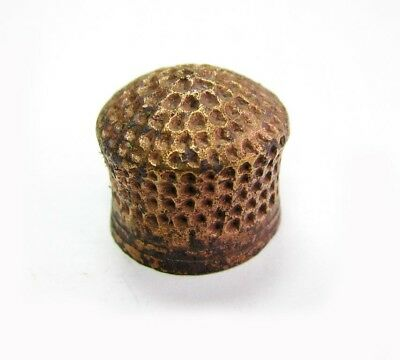 Authenic Vintage Medieval Old Antique Sewing Bronze Brass Thimble Old Artifact