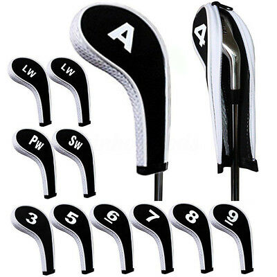 12pcs Set Golf Club Iron Headcovers Head Cover Case Sock with Zipper Long Neck
