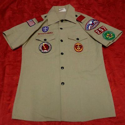 Vintage OFFICIAL BSA BOY SCOUTS OF AMERICA Uniform shirts Q612 YOUTH Size16