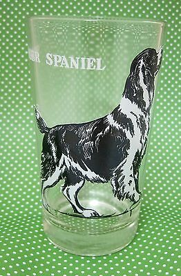 "Vintage Springer Spaniel Dog Black White Bar Drinking Glass 5"" Great Shape"