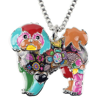 Enamel Shih Tzu Dog Necklaces Pendants Pup Floral Chain Alloy Choker Jewelry