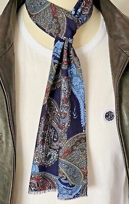 SUPERNOVA SCARVES Navy Blue Paisley Cotton Mod Scarf Indie 60s Retro Scooter