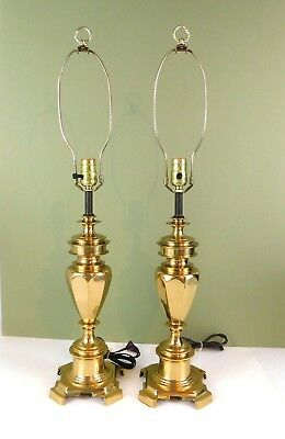 Vintage Berman Solid Brass Buffet Banquet Lamps Pair Circa 1985