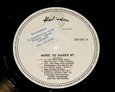 Harry Marshard And His Orchestra - PROMO LP - Music To Dance By - Heliodor