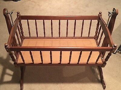 Vintage Baby Cradle Maple Wood Bassinet Jenny Lind Style PLUS Mattress
