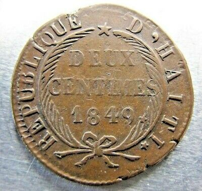 Haiti KM31 Two Centimes 1849 - Rare only-year-of-type.